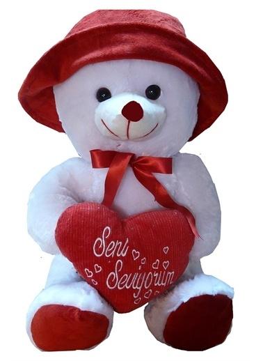 Sole Sevgiliye Özel Hediye- 60 cm, Şapkalı Kokoş Seni Seviyorum Yastıklı Peluş Ayı-Madam Koko Renkli